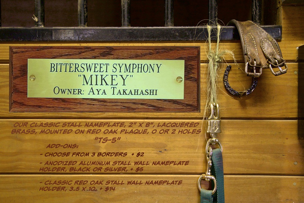 engraved brass stall nameplate with plaque