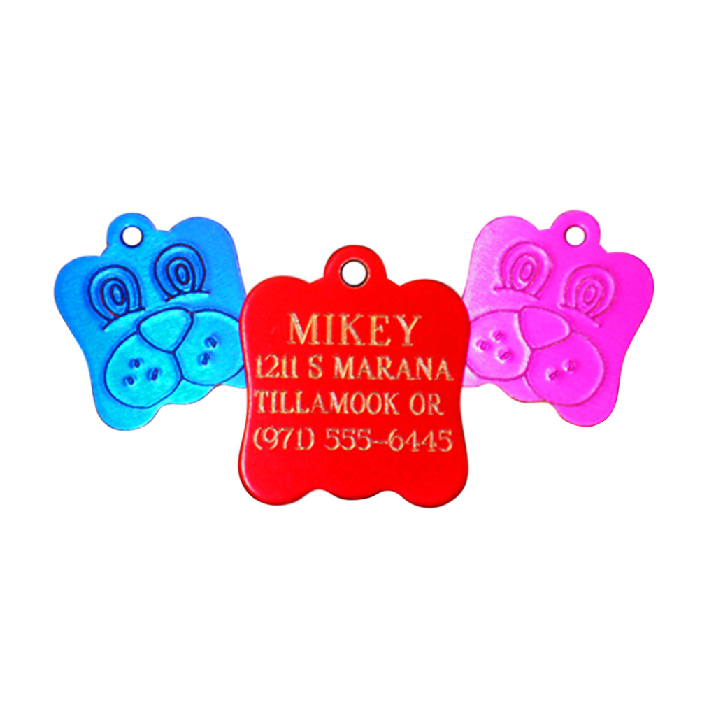 Engraved Dog Face Pet Tag