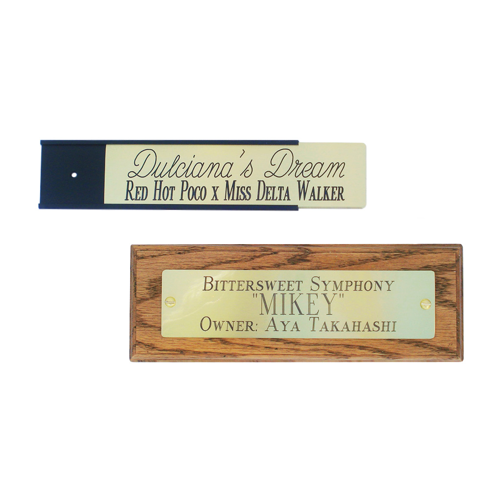 Engraved Horse Tack / Stall Tags and Nameplates
